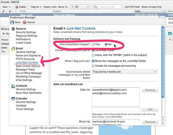 Excite Mail har en totrinnsprosess. Kikk på Junk Mail Controls (Reklamepost-kontroller), deretter