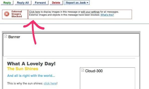 """Se in Juno le immagini non vengono caricate, fai clic sul link in cima alla email nel messaggio """"immagini esterne bloccate"""""""