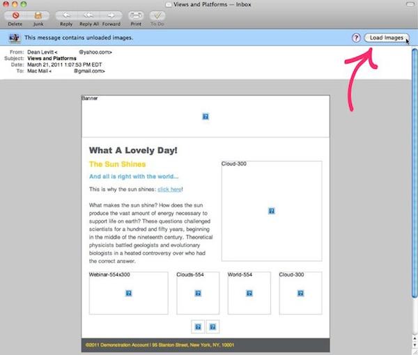 I MacMail finner du knappen for å vise bildene øverst til høyre i e-posten