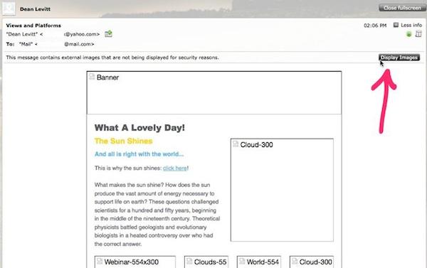 In Mail.com, fai clic sul pulsante Mostra, in alto a destra, per caricare le immagini.