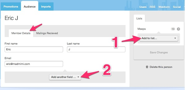 edit contact details through the member details tab