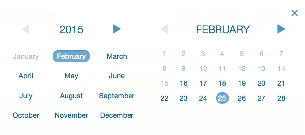 select year, month, and date for future scheduled mailing