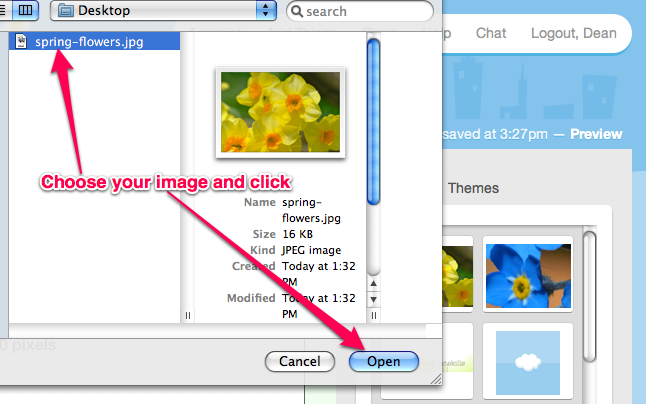 Then select your image file and click open