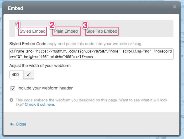 Webform embed code