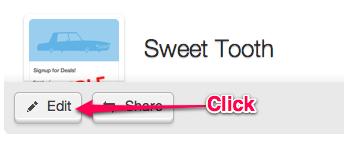 Opções avançadas de formulário da internet, botão Editar