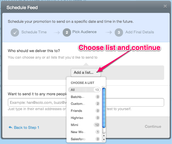 RSS to email list selection