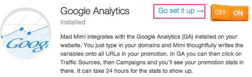 Clique para configurar o suplemento do Google Analytics
