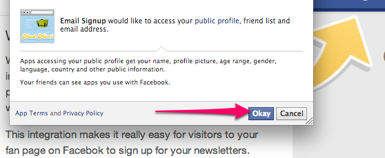 Facebook Signup Request Access, click okay