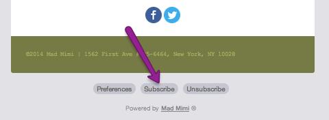mad mimi Abonnieren-Schaltfläche unten in der E-Mail