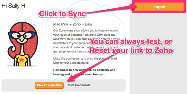 click import, to sync Zoho CRM with Mad Mimi, reset anytime