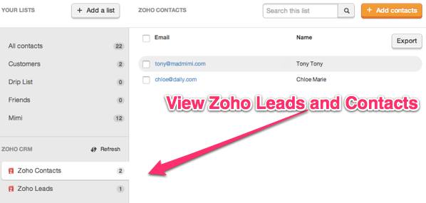 Click contacts or leads to view Zoho CRM data