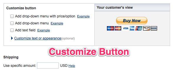 Paypal buttons customization tools