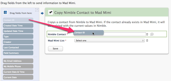 Nimble to Mad Mimi configuration option 1
