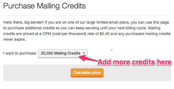 email marketing CPM, prompt to purchase mailing credits