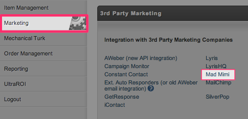 UltraCart email marketing integration step 1