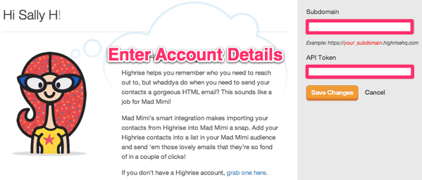 Highrise email marketing integration - account details here
