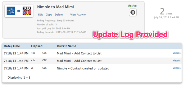 Nimble to Mad Mimi update log