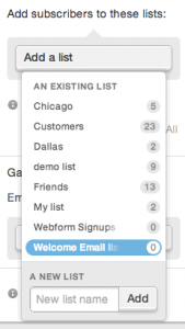 "selecting the ""Welcome Email list"" from the Add a list dropdown on the web form editing page"