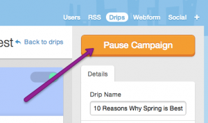'pause campaign' button in the drip campaign editing page