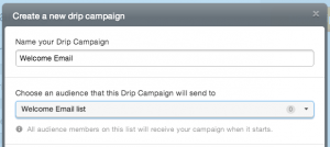"naming a drip campaign ""Welcome Email"" and connecting it to the list ""Welcome Email list"""