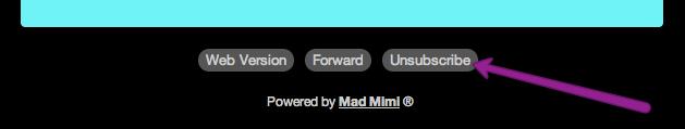 el botón para cancelar la suscripción en la parte inferior de un correo electrónico de  GoDaddy