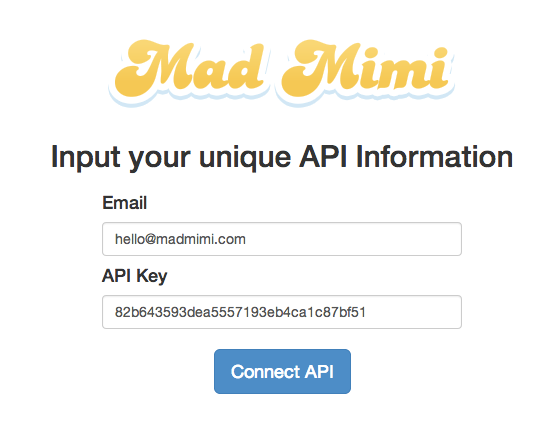 entering the Mad Mimi account email address and API key to connect with Interact