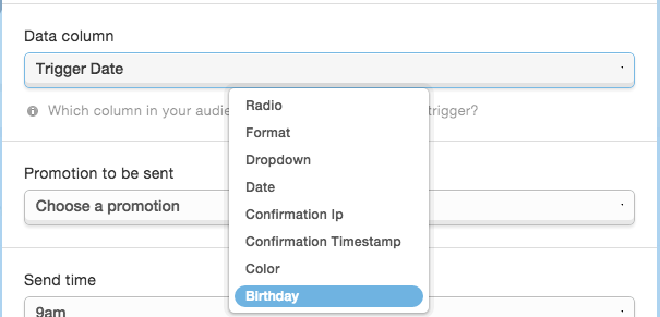select a promotion when setting up a new Mad Mimi date trigger