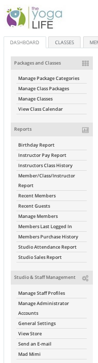 Dashboard menu options in StudioBookings, with Mad Mimi link at bottom.
