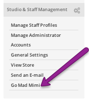 "finished set-up of StudioBookings and Mad Mimi -- Dashboard now says ""Go Mad Mimi"""