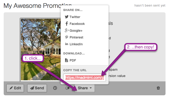 "click ""Share"" on Mad Mimi Dashboard to copy the promotion URL you need to create a Facebook share link"
