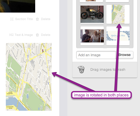 rotating images in Email Marketing composer, rotates in both places gallery and campaign