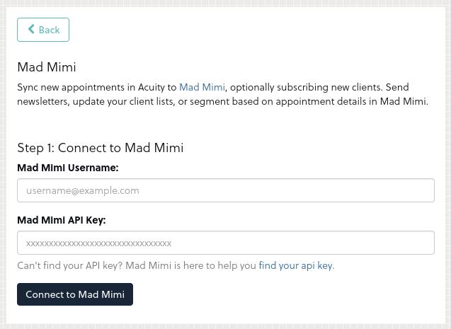 Acuity - Mad Mimi Integration 2