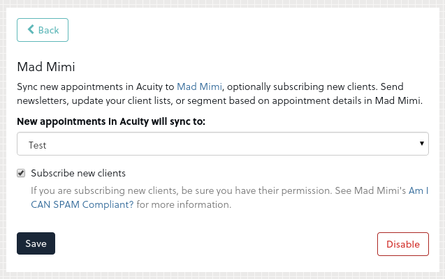 Acuity - Mad Mimi Integration 4